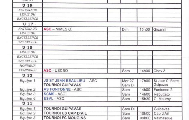Programme du week end du 30 avril et du I mai
