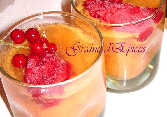 Compote de Melon & Sorbet Groseille-Framboise