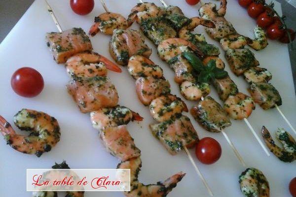 Brochettes saumon crevettes à la plancha