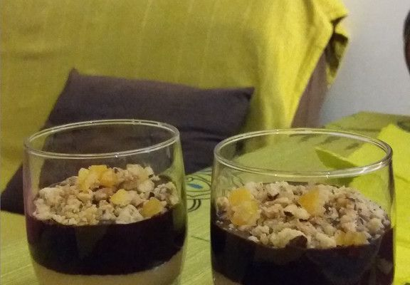 Verrines à l'orange, chocolat et son crumble