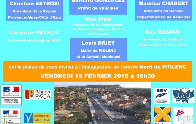Inauguration : Entrée Nord de Piolenc.