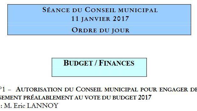 Conseil municipal du 11 janvier 2017.
