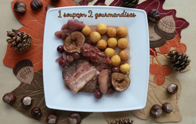 Pavé Lardé de Biche aux Cerises, Pommes et Figues