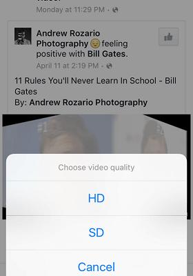 Orientar baixar vídeo facebook em telefone Iphone