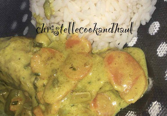Poulet curry au coco légumes