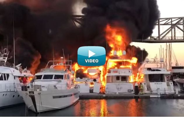Video - 6 Yachts Sink after a Fire in the Port of Barcelona (Spain)