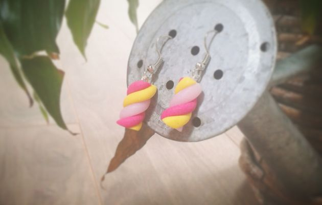 Boucles d'oreilles Chamallows Rose/Jaune