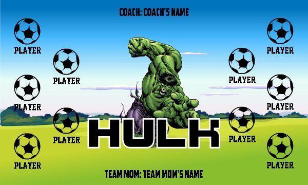 The soccer banners with Hulk