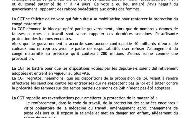 Loi pour l'allongement des congés de maternité et paternité / Marie-Georges Buffet (PCF)