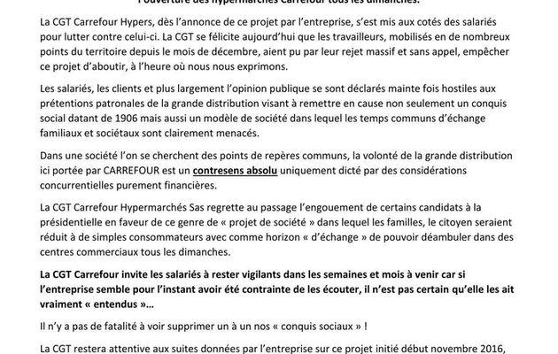 Ouvertures dominicales / Communiqué CGT Carrefour