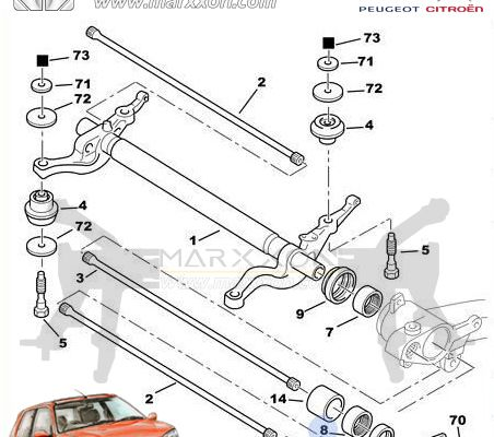 peugeot 106 206cc/rc/sw 208 306 partner Citroen ax saxo xsara xz picasso berlingo rear axle diagram