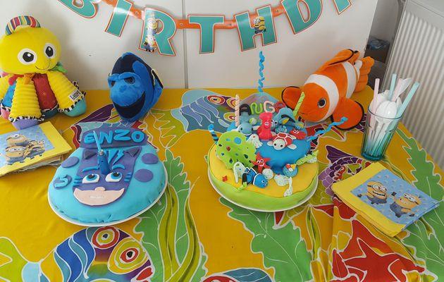 Gâteaux anniversaire 1 an Ange et 3 ans Enzo pyjamasque et Océan pâte à sucre maison
