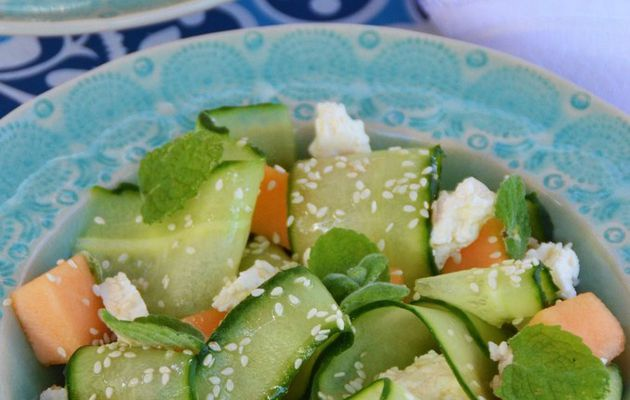 "Cucumber ""Tagliatelle"" with Melon & Feta"