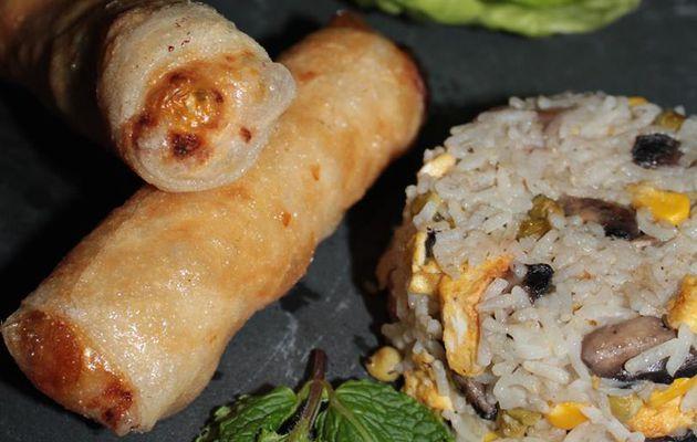 Nems au poulet et riz cantonais