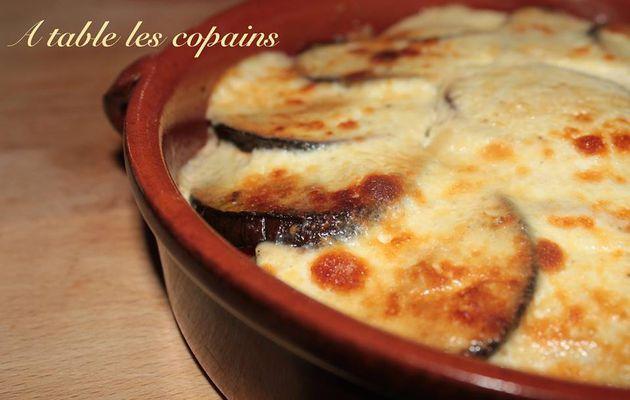 Tian d'aubergine, fromage blanc en faisselle, parmesan et basilic