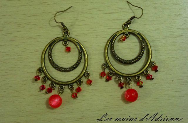 Boucles d'oreilles bronze/ rouge