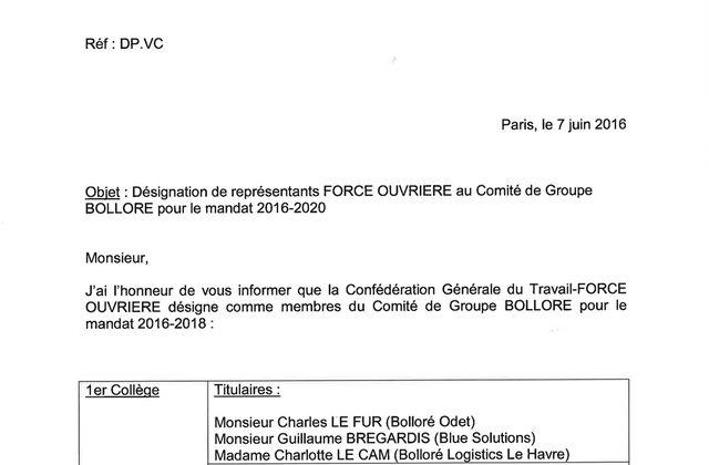 Représentants FORCE OUVRIERE au Comité de Groupe Bolloré