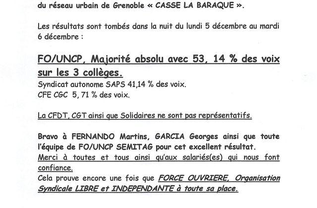 Réseau Urbain de Grenoble : FO/UNCP casse la baraque !!! FELICITATIONS !!!