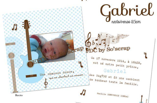 Le faire part de naissance du petit Gabriel ...