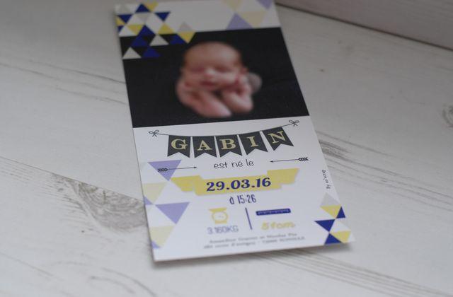 Le faire part de naissance du petit Gabin, design très graphique !