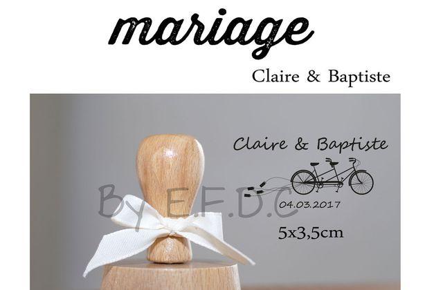Le tampon de mariage de Claire et Baptiste .... un p'tit tour de tandem ?