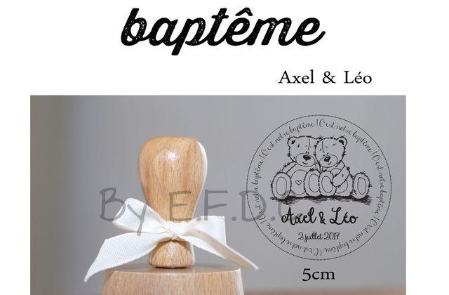 Tampon baptême d'Axel & Léo : thème petits oursons