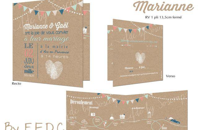 Le faire part de mariage de Marianne et Gaël ... thème vintage et guinguette