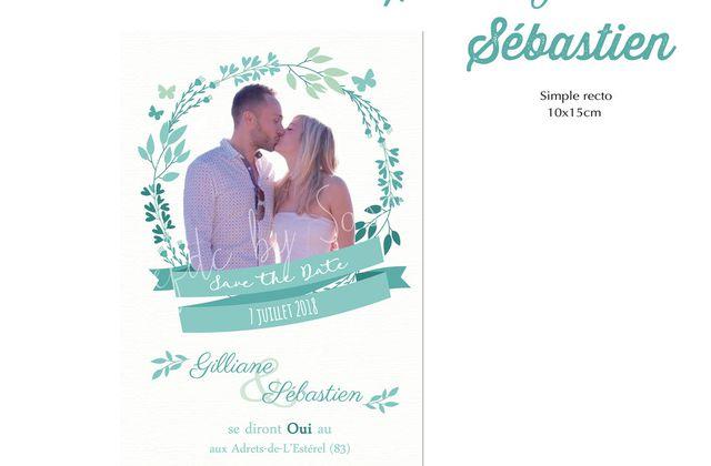 Save The Date de Sébastien et Gilliane ... couronne florale