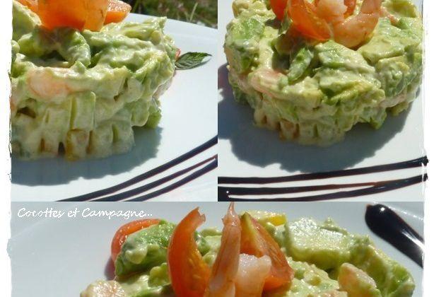 Tartare d'Avocats à la Mangue et aux Crevettes roses