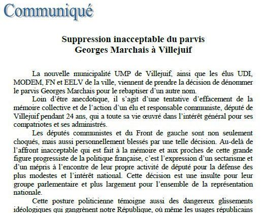 Suppression inacceptable du parvis Georges Marchais à Villejuif (communiqué)