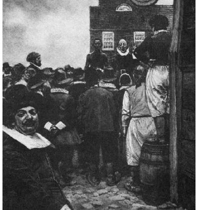 La première vente d'esclaves aux enchères à la Nouvelle Amsterdam. Tableau de Howard Pyle 1643, Granger Collection, New York