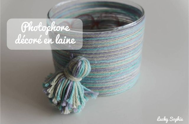 Photophore décoré en laine 🌟 DIY