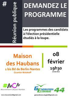 Présidentielles : réunion publique à Nantes le 8 février