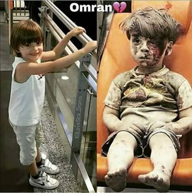 Omran before and after.  May god be with omran and all the children of #Syria..
