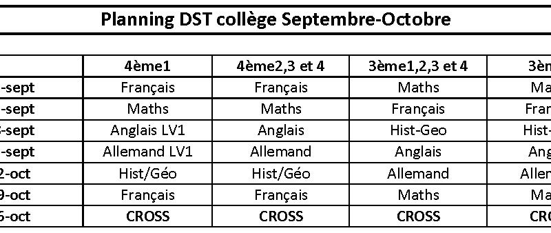 Planning des DST (Rectification)