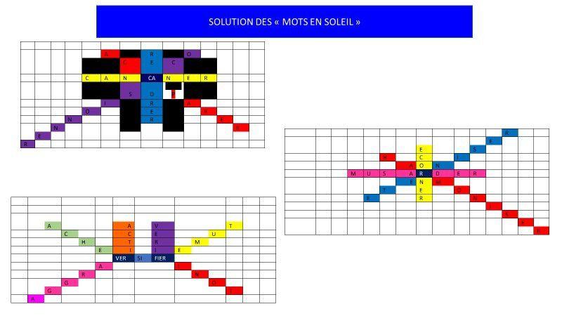 """SOLUTION DES """"MOTS EN SOLEIL"""""""