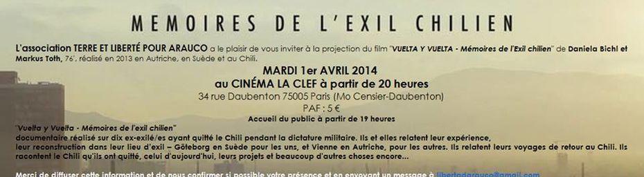 """""""VUELTA Y VUELTA - Mémoires de l'Exil chilien"""" au Cinéma La clef le 1er Avril (Paris)"""