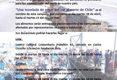 """Chili - Lota - Cepas : campagne de solidarité, """"UNE TONNE D'AMOUR DU SUD AU NORD DU CHILI"""""""