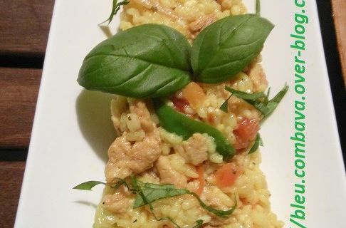 Risotto végétarien aux protéines de soja, tomates, basilic et gros piments
