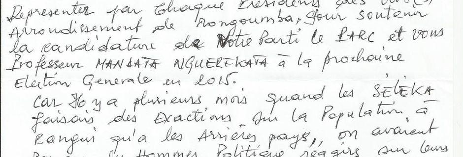 Appel à candidature du Pr N'Guérékata - Mongoumba
