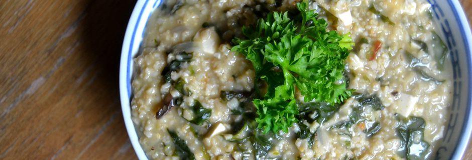 Flocons d'avoine aux champignons et épinards