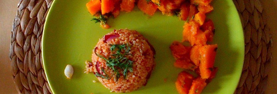 Potimarron caramélisé aux fanes de carottes et au thé avec ébauche de boulgour du kebab