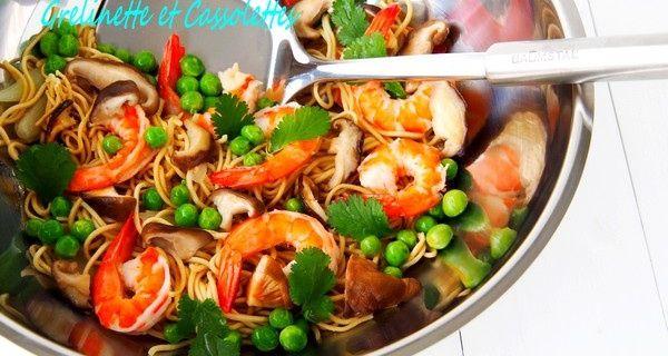 Wok de Nouilles Chinoises sautées aux Crevettes et aux Shiitakés, Petites considérations sur le Wok
