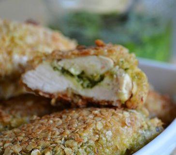 Croustillant de poulet aux flocons d'avoine et pesto de blette