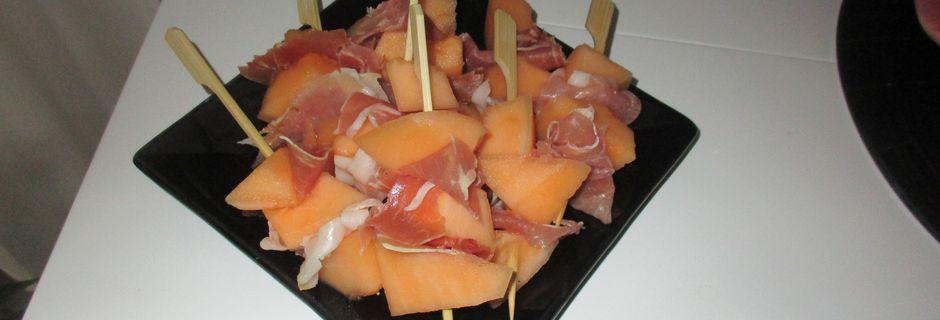 petites brochettes chiffonade et melon