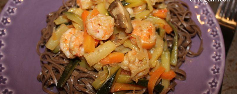 Nouilles soba aux crevettes et légumes...Escapade en Cuisine