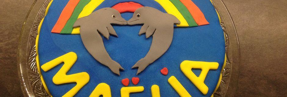 Gâteau dauphins et arc en ciel