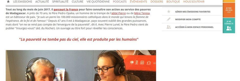 """Père Pedro sur la radio RCF : """"La pauvreté ne tombe pas du ciel, elle est produite par les humains"""""""