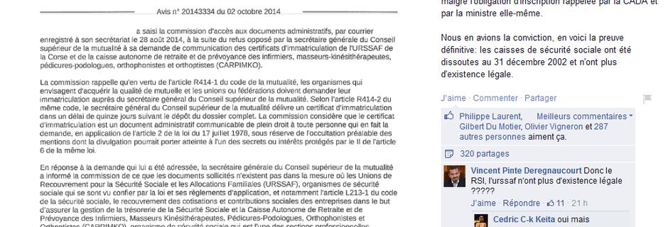 #INSTRUMENTALISATION DU #CADA de la part des groupes qui prétendent se #libérer de la #sécu/#Réponse du #CADA