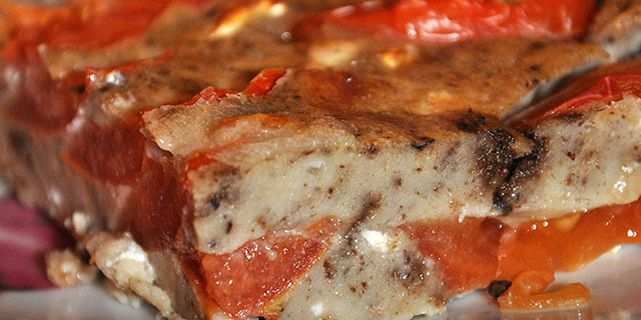 Clafoutis marbré tomates/tapenade/féta